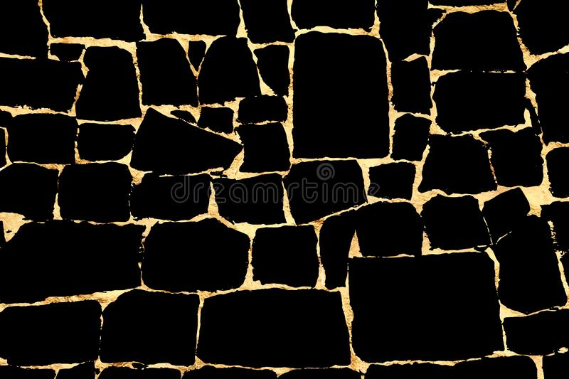 Vector grunge gold texture isolated on black. Patina scratch golden background. stock illustration