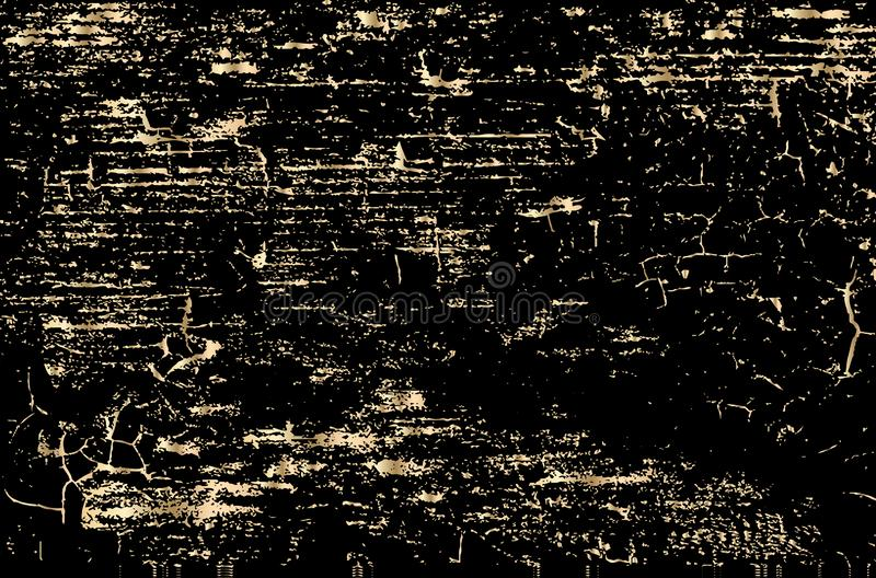 Vector grunge gold texture isolated on black. Patina scratch golden background. royalty free illustration