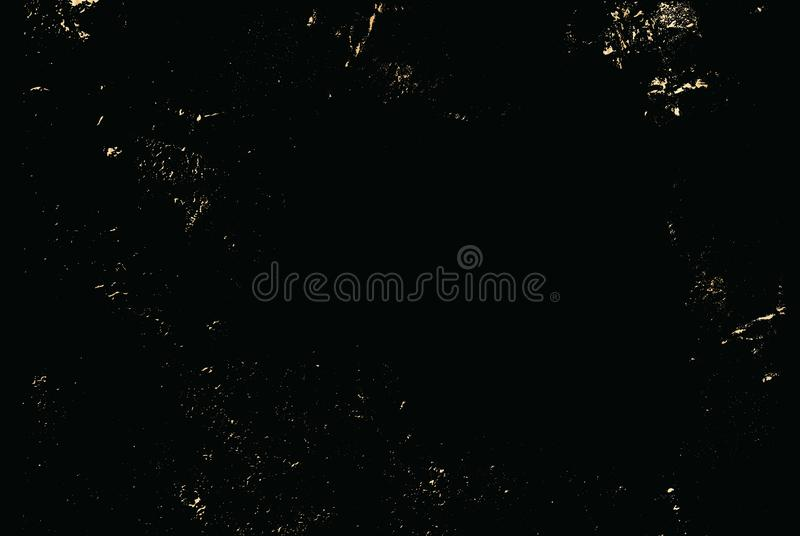 Vector grunge gold texture isolated on black. Patina scratch golden background. vector illustration