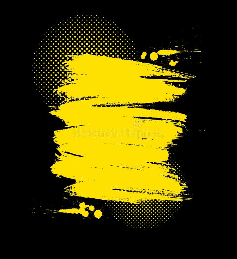 Vector grunge illustration. Vector color paint grunge background in yellow and black color stock illustration