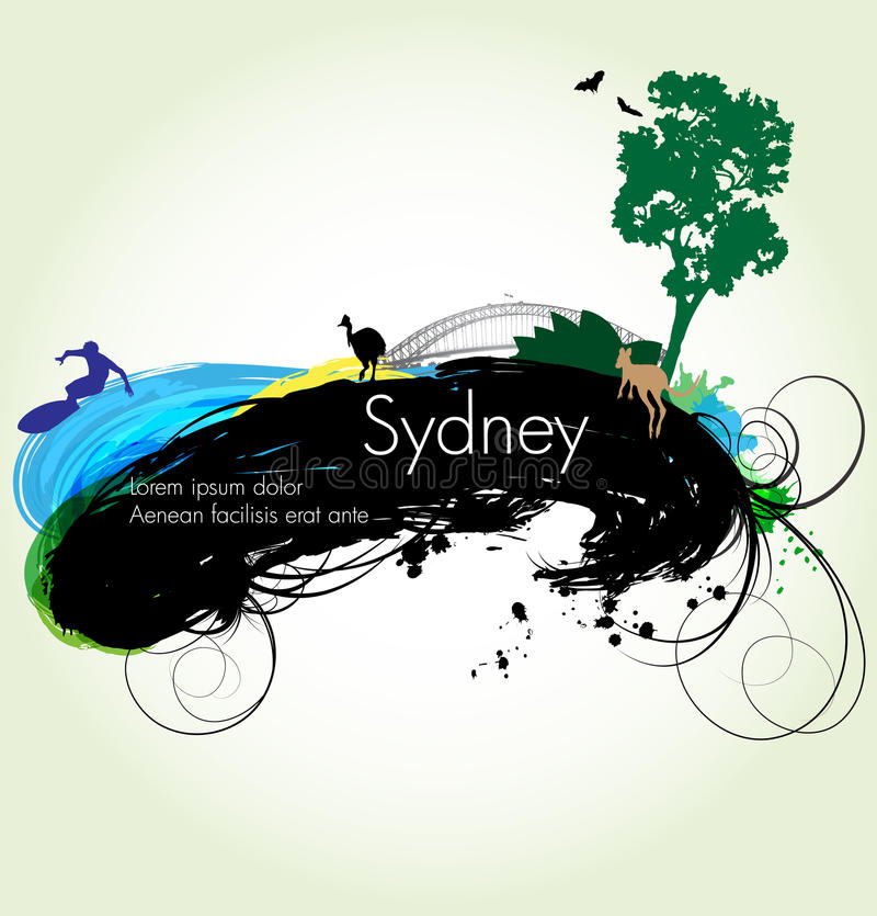 Vector grunge illustration of Sydney royalty free illustration