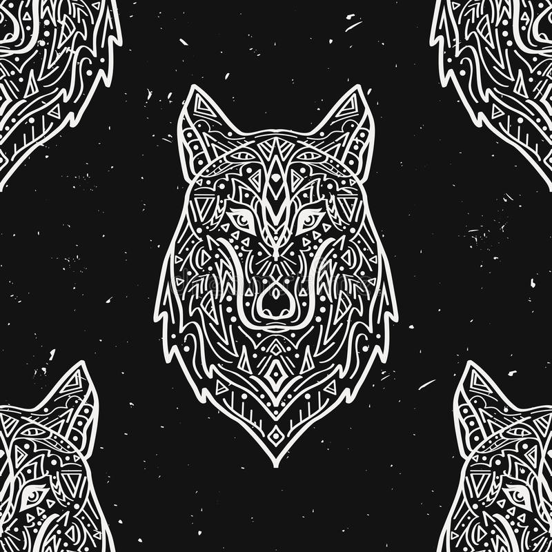 Vector grunge monochrome seamless pattern with tribal style wolf. With ethnic ornaments. American indian motifs. Boho design stock illustration