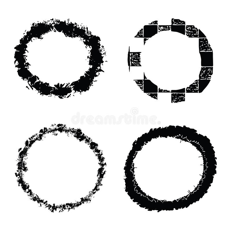 Vector grunge organic ink textured circles set . Abstract wonky brush stroke loop elements. stock illustration