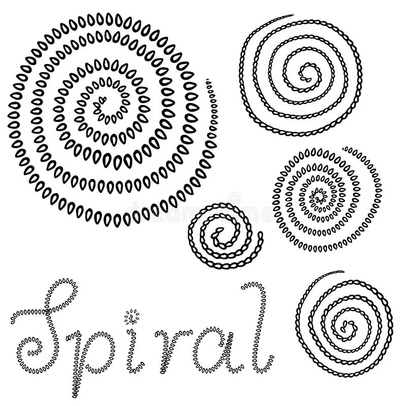 Vector grunge organic ink textured spiral set. Abstract design elements set. Swirl motion brush stroke. Overlay artistic shape illustration. Grungy aged stock illustration