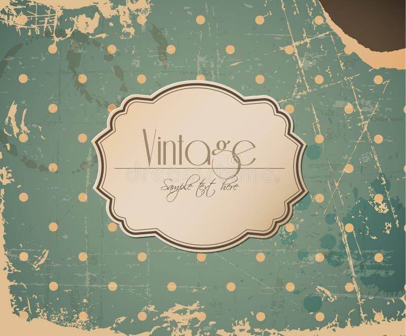 Vector grunge retro vintage background with label stock illustration