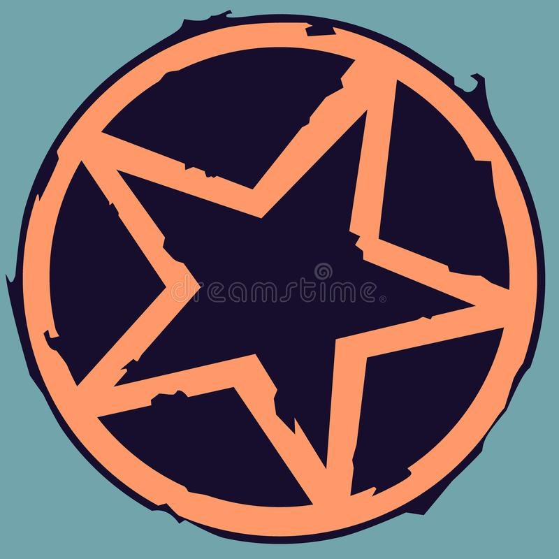 Star In The Circle In Grunge Style Stock Vector