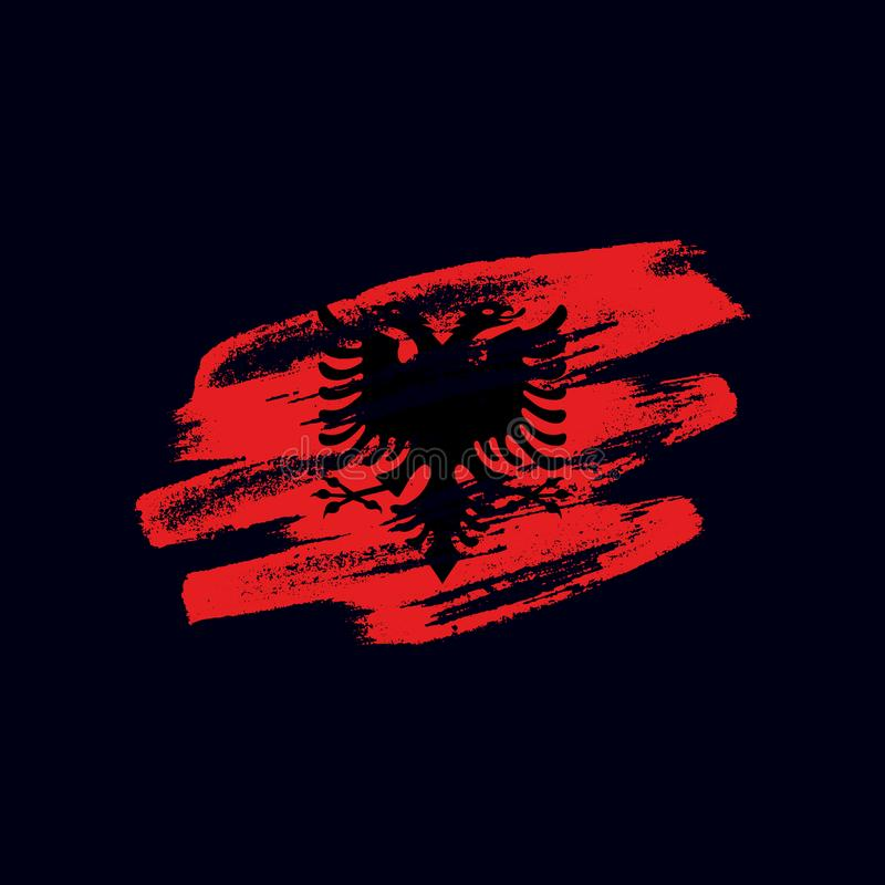 Vector grunge textured Albanian flag royalty free illustration
