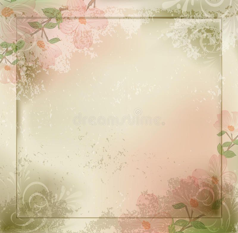 Vector grunge, Weinlesehintergrund mit Blumen vektor abbildung