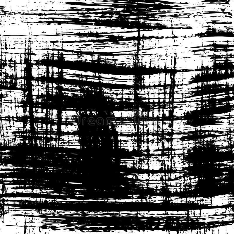 Vector grungeachtergrond Het zwart-witte patroon van de borstelslag stock illustratie