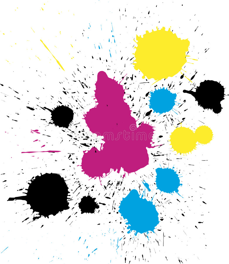 Vector Grungy Colorful CMYK Paint Drops Royalty Free Stock Photo