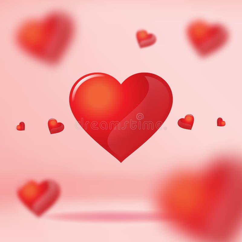 Vector: Grupo de corazón rojo que flota en el sitio rosado del estudio, Valentín stock de ilustración