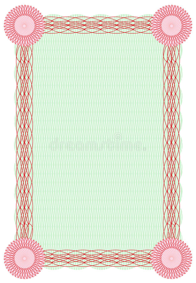 Download Vector Guilloche Green And Red Border For Diploma Stock Photo - Image: 10735530