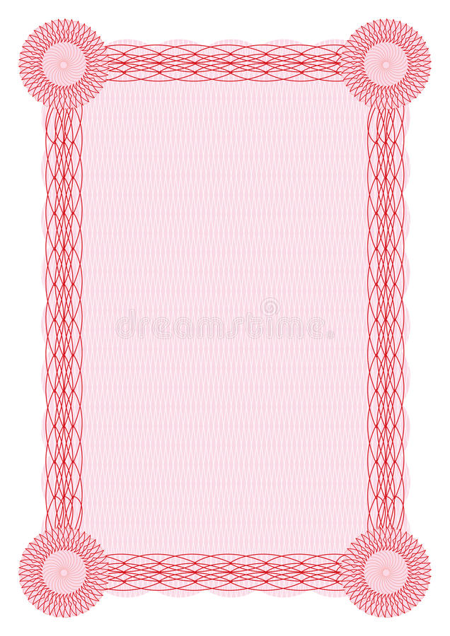 Vector guilloche red border for diploma stock illustration