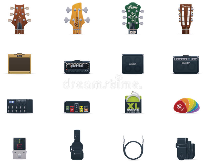 Vector Guitar Equipment Icon Set Royalty Free Stock Images
