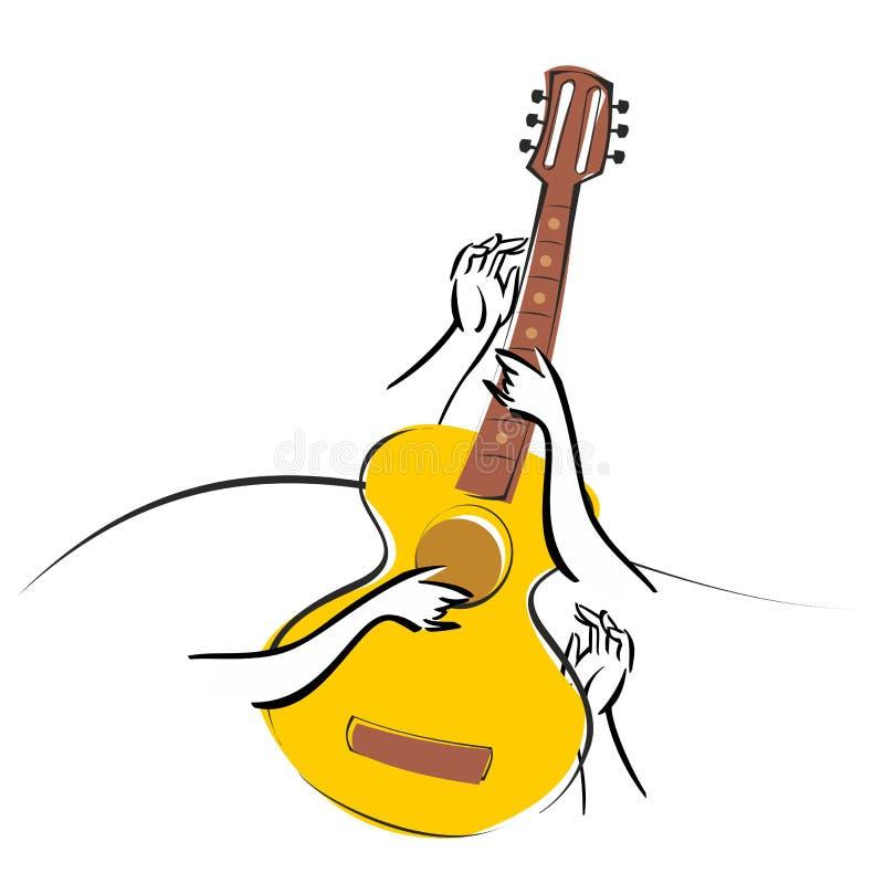 Vector a guitarra acústica clássica da ilustração isolada no fundo branco ilustração do vetor