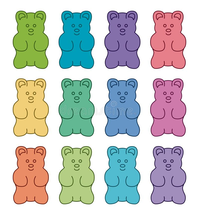 Vector gummy bear candies. Isolated on white background. simple gummy bear clipart drawing royalty free illustration