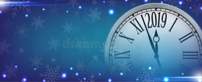 Vector 2019 guten Rutsch ins Neue Jahr mit Retro- Uhr auf Schneeflocken blaues b stock abbildung