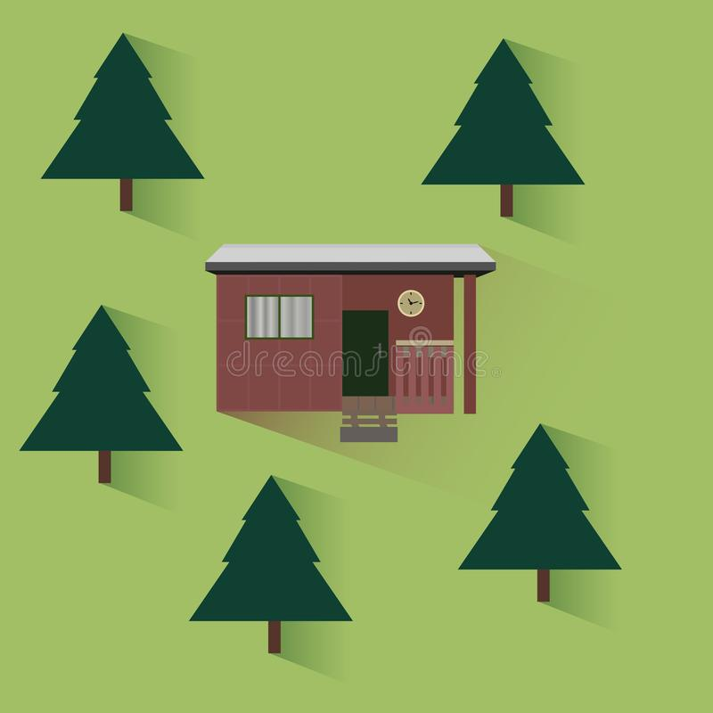 Vector Häuschen im Wald mit Bäumen in der flachen Art lizenzfreie abbildung
