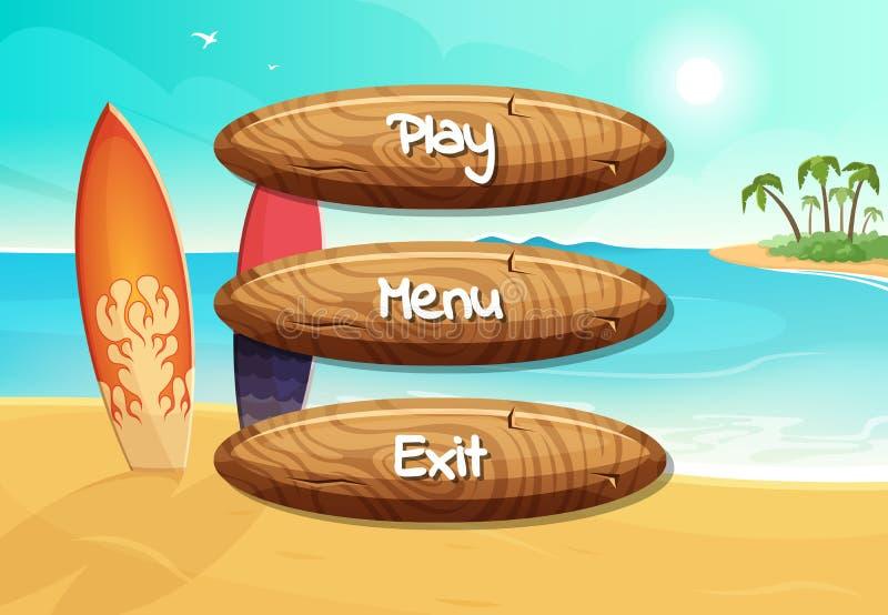 Vector hölzerne Knöpfe der Karikaturart mit Text für Spieldesign auf Surfbrettern auf dem Strandhintergrund stock abbildung