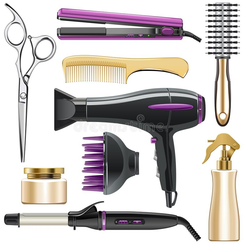 Free Vector Hair Styling Icons Royalty Free Stock Photo - 117714845
