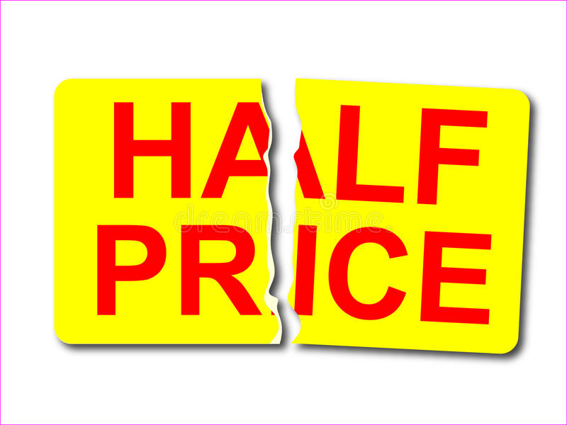 Vector half price sticker royalty free illustration