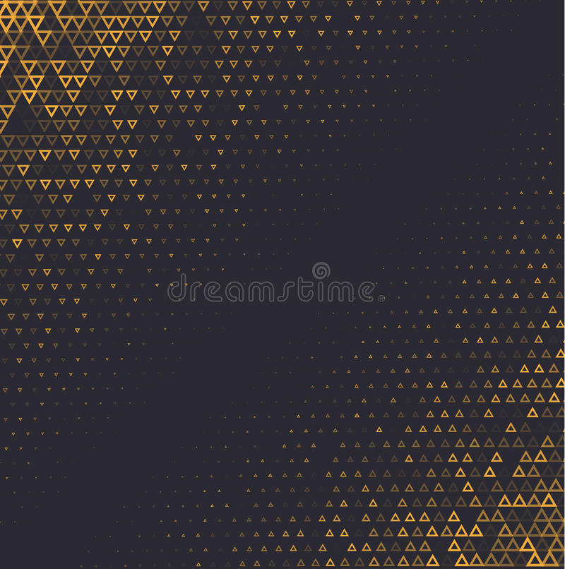 Free Vector Halftone Abstract Background, Black Gold Gradient Gradation. Geometric Mosaic Triangle Shapes Monochrome Pattern Stock Images - 98885194