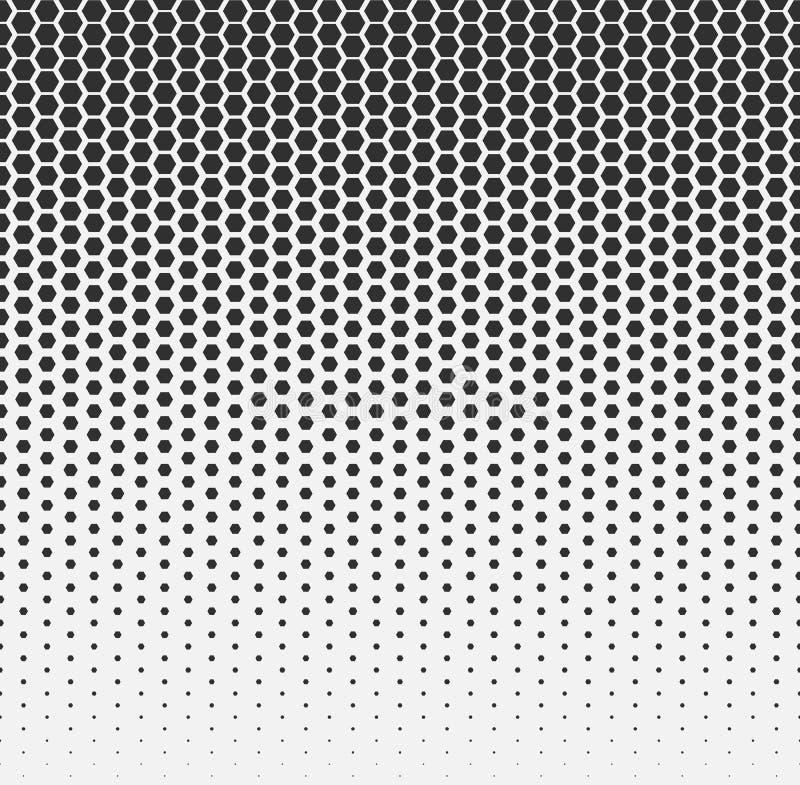 Vector halftone abstract background, black white gradient gradation. Geometric mosaic hexagon shapes monochrome pattern. Simple backdrop design stock illustration