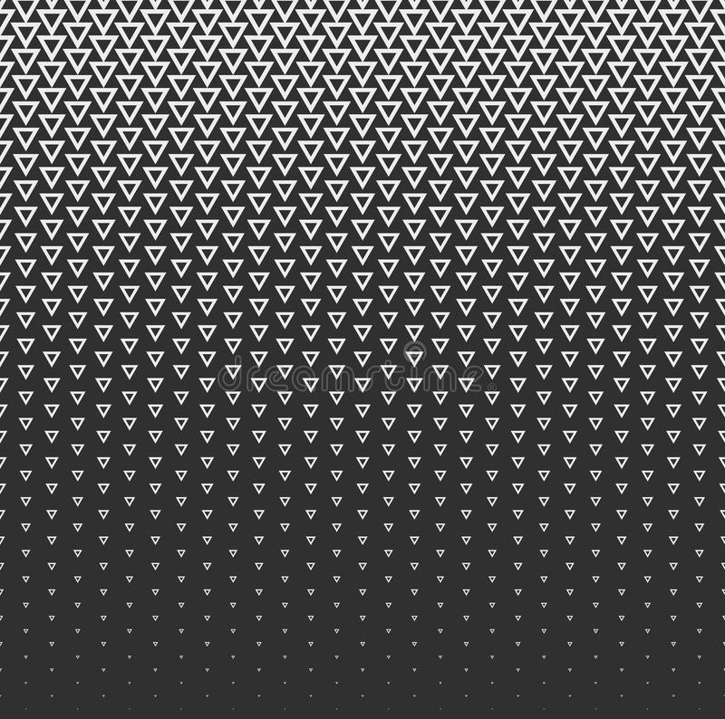 Vector halftone abstract background, black white gradient gradation. Geometric mosaic triangle shapes monochrome pattern royalty free illustration