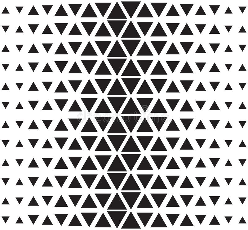 Vector halftone abstract triangular pattern. Seamless black and white triangle illustration stock illustration
