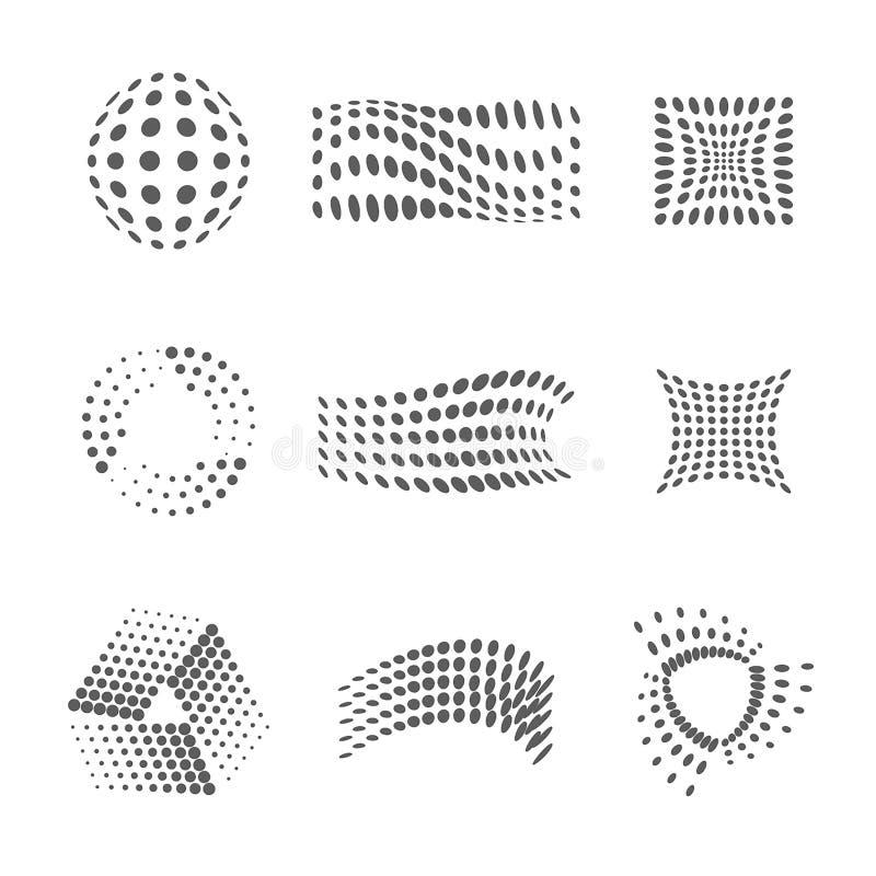 Vector Halftone en Dots Logo Design Template-reeks Abstracte cijfersillustratie stock illustratie