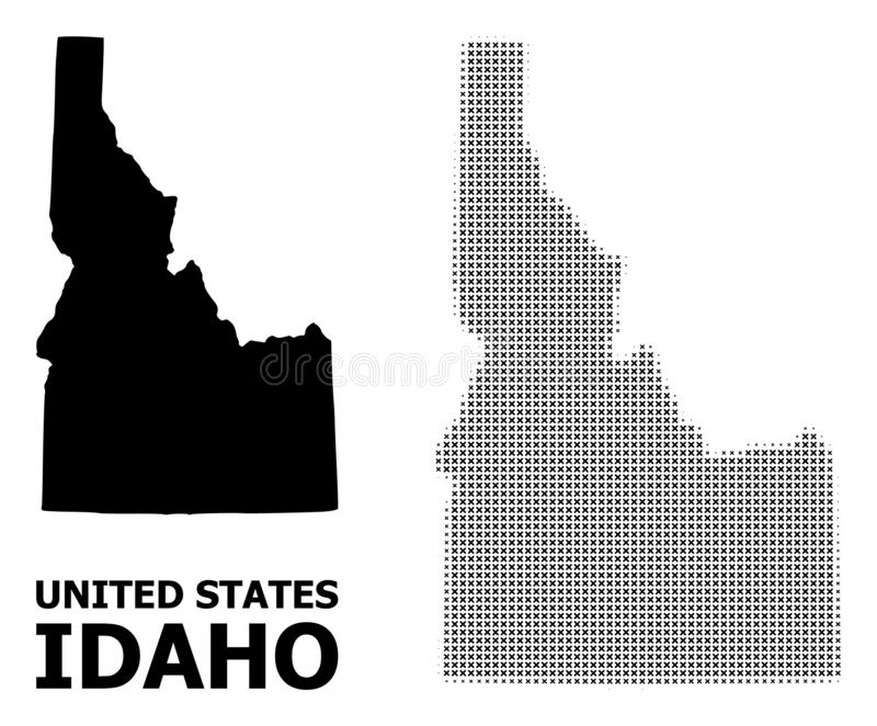 Vector Halftone Mosaic and Solid Map of Idaho State royalty free illustration