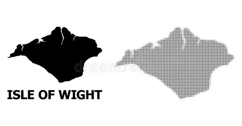 Vector Halftone Mosaic and Solid Map of Isle of Wight. Halftone and solid map of Isle of Wight composition illustration. Vector map of Isle of Wight composition stock illustration