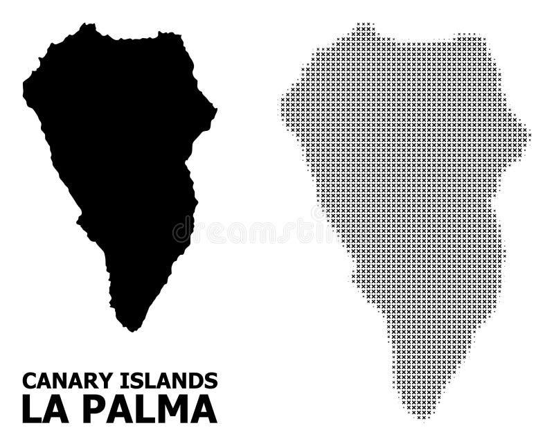 Vector Halftone Mosaic and Solid Map of La Palma Island vector illustration