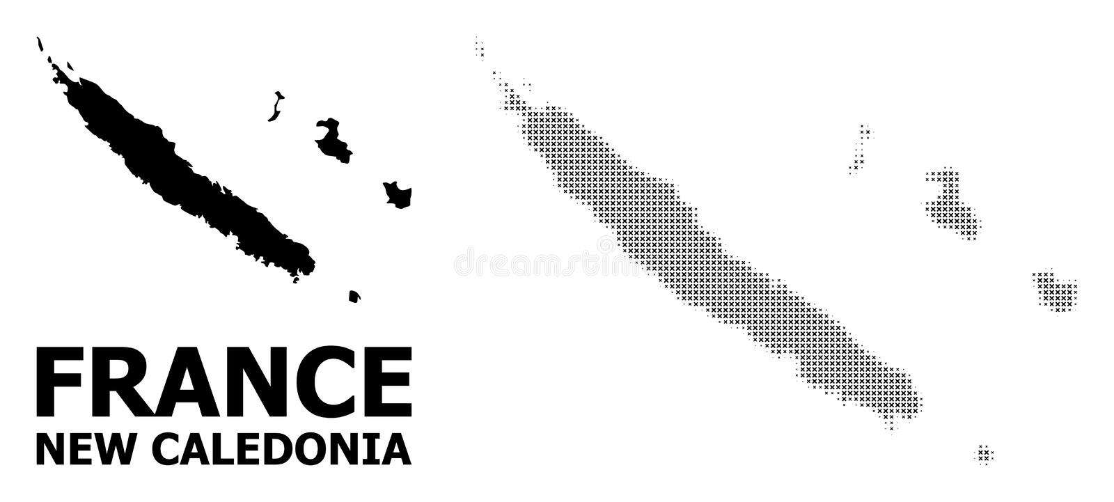 Vector Halftone Mosaic and Solid Map of New Caledonia royalty free illustration