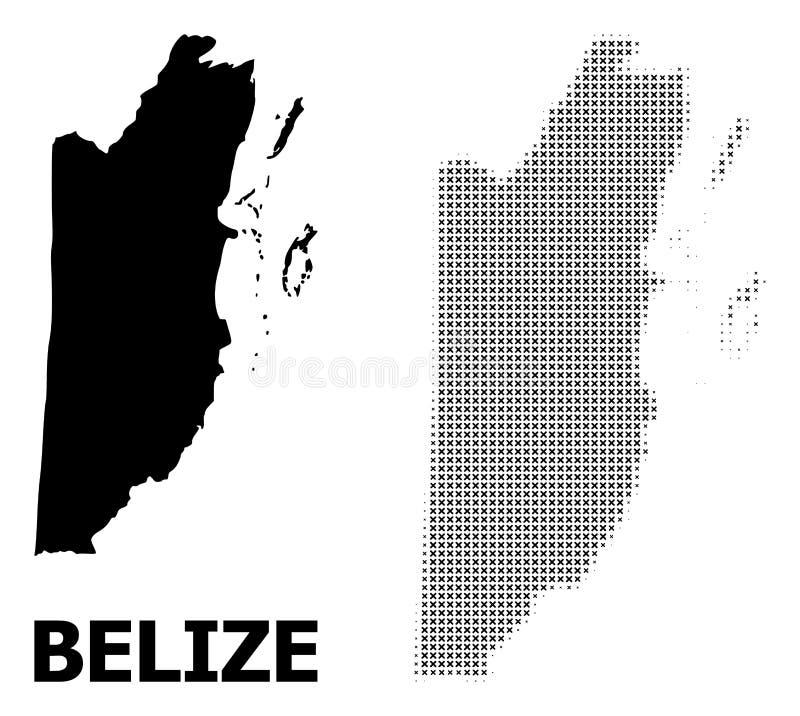 Vector Halftone Mozaïek en Stevige Kaart van Belize vector illustratie