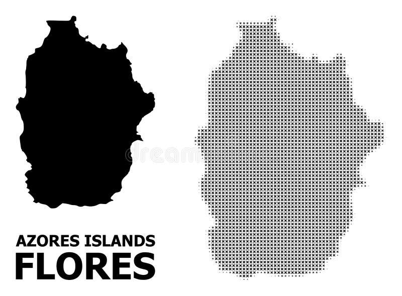 Vector Halftone Patroon en Stevige Kaart van het Eiland van de Azoren - Flores- stock illustratie