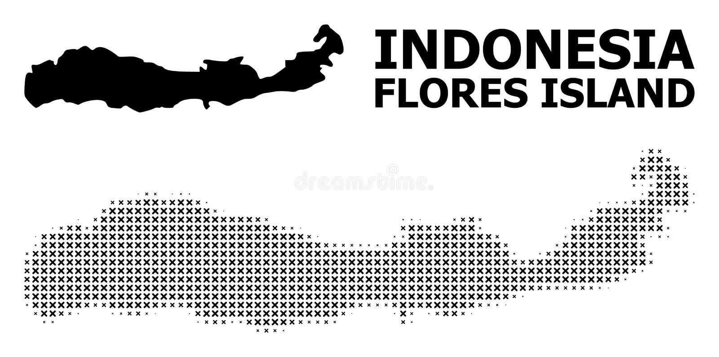 Vector Halftone Patroon en Stevige Kaart van Indonesië - Flores-Eiland royalty-vrije illustratie