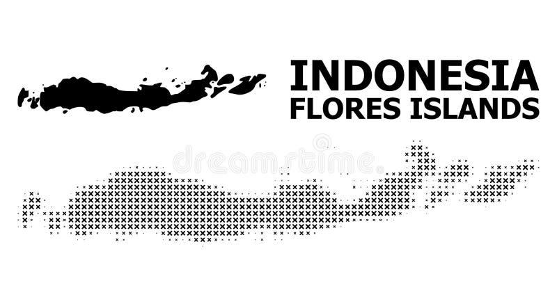 Vector Halftone Patroon en Stevige Kaart van Indonesië - Flores-Eilanden vector illustratie