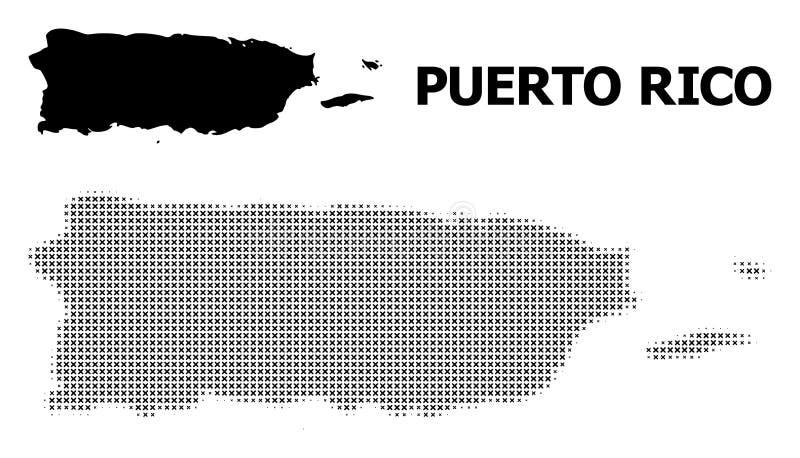 Vector Halftone Patroon en Stevige Kaart van Puerto Rico vector illustratie