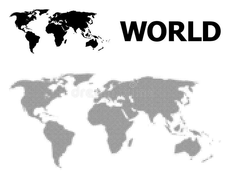 Vector Halftone Patroon en Stevige Kaart van Wereld royalty-vrije illustratie