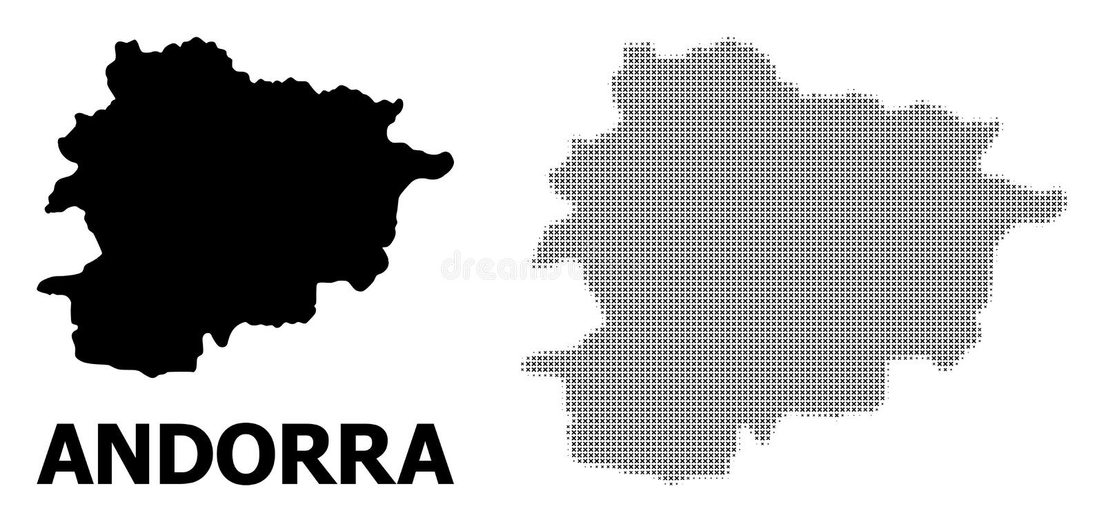 Vector Halftone Pattern and Solid Map of Andorra. Halftone and solid map of Andorra composition illustration. Vector map of Andorra composition of x-cross spots stock illustration