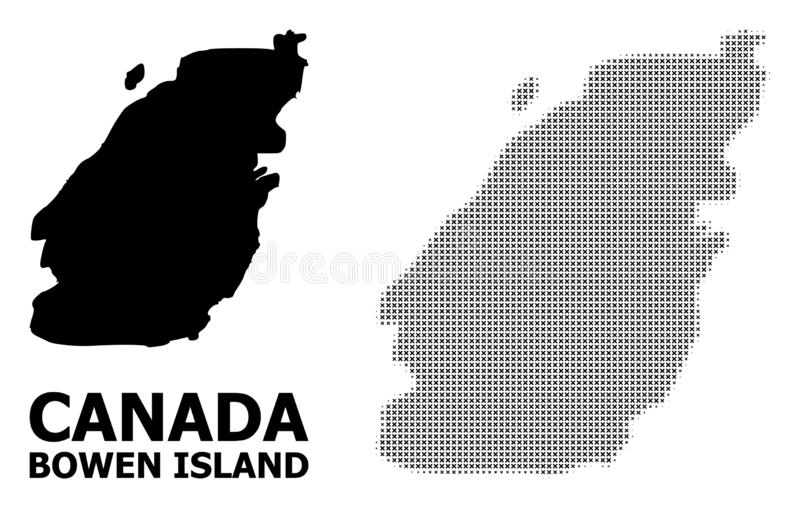 Vector Halftone Pattern and Solid Map of Bowen Island. Halftone and solid map of Bowen Island composition illustration. Vector map of Bowen Island composition of stock illustration