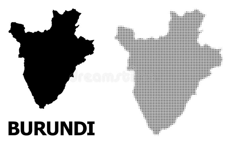Vector Halftone Pattern and Solid Map of Burundi stock illustration