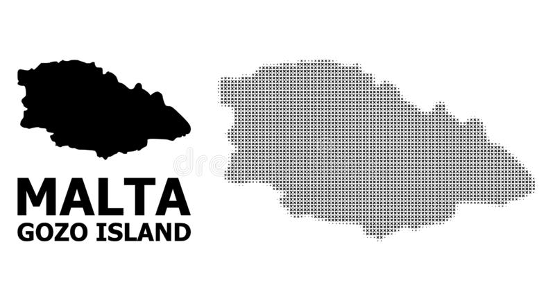 Vector Halftone Pattern and Solid Map of Gozo Island stock illustration