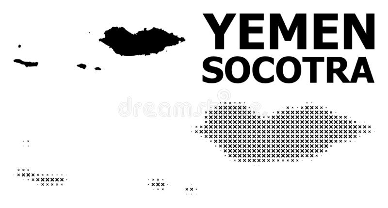Vector Halftone Pattern and Solid Map of Socotra Archipelago. Halftone and solid map of Socotra Archipelago composition illustration. Vector map of Socotra royalty free illustration