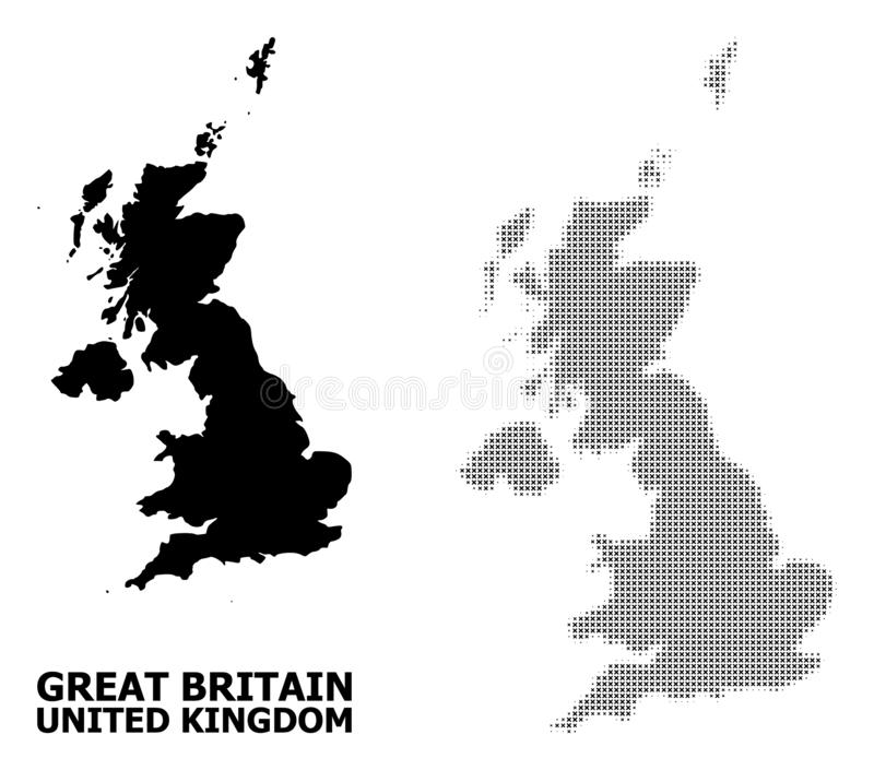 Vector Halftone Pattern and Solid Map of United Kingdom. Halftone and solid map of United Kingdom composition illustration. Vector map of United Kingdom vector illustration