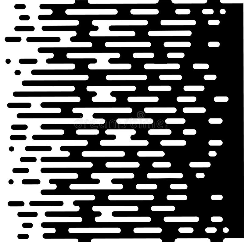 Vector Halftone Transition Abstract Wallpaper Pattern. Seamless Black And White Irregular Rounded Lines Background for vector illustration