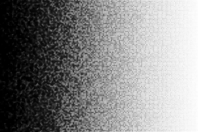 Vector halftone transition pattern made of dots with random size circles. vector illustration