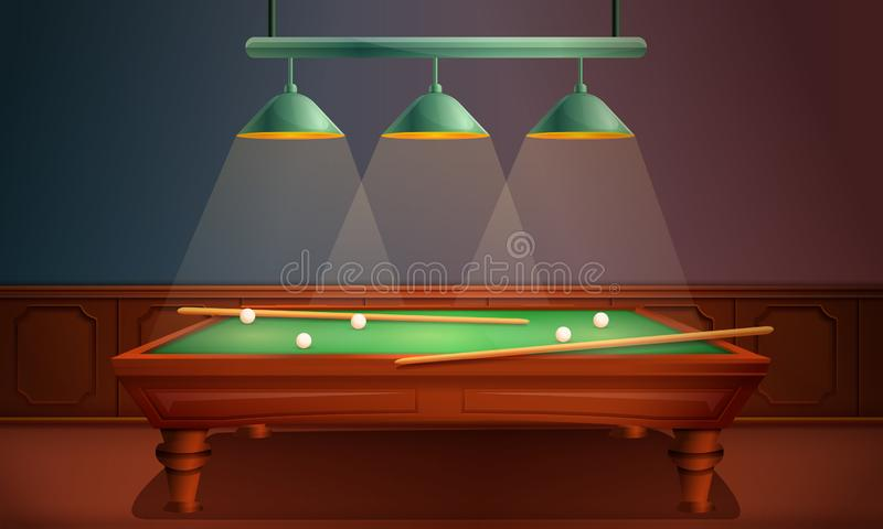 Vector hall with pool table. Vector illustration royalty free illustration