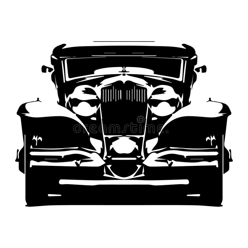 Vector hallo-ausführliches Schattenbild Retro- angeredetes hotrod, das auf weißem Hintergrund lokalisiert wird vektor abbildung